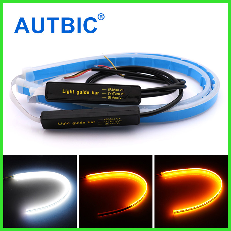 AUTBIC 30cm 45cm 60cm Universal Car DRL LED Strip Flexible Flowing Turn Signal <font><b>Lights</b></font> Auto Angel Eyes Daytime Running Lamp image