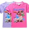 2017 New girls T-shirt Kids Tees Baby girl shirts cartoon moana Ocean Romance Children short Sleeve 100% Cotton t shirt tops