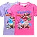 2017 Nuevas muchachas T-shirt Kids Tees camisetas niña de dibujos animados moana Océano Romance Niños de Manga corta 100% Algodón camiseta tops