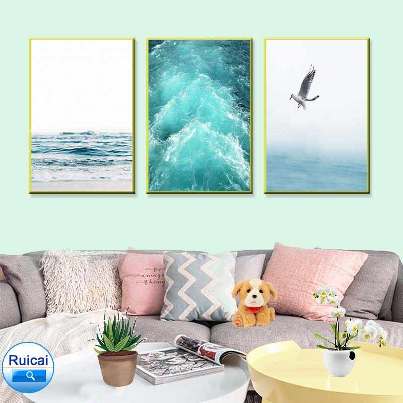 Nordic landscape blue sea and sky canvas painting seagull, surf art poster living room decoration seabird wall picture