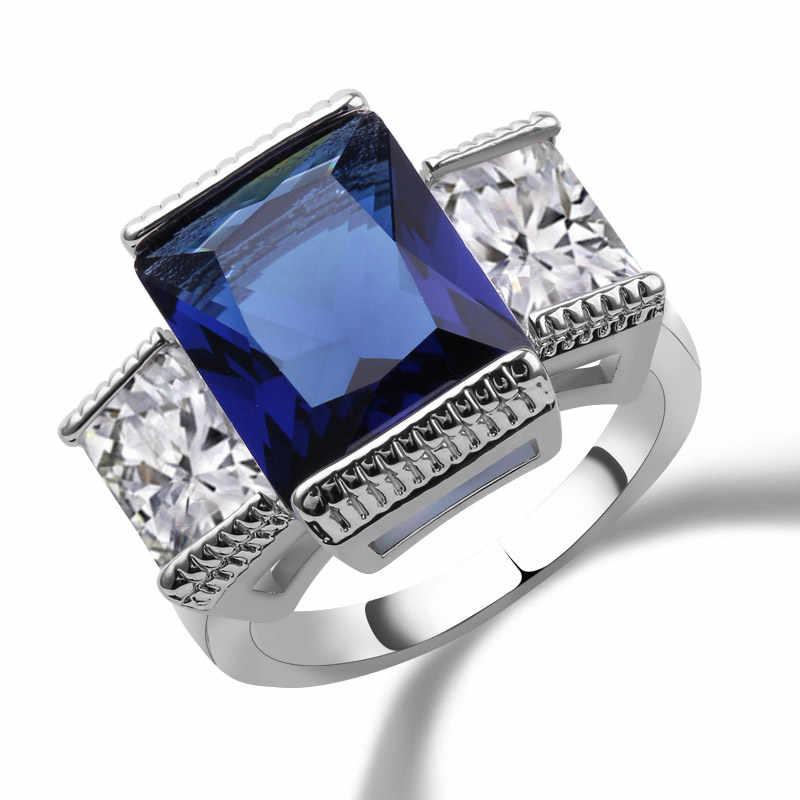Зеленый весенний сезон кольца серебряное Золото Заполненные обручальные обещания кольца Многослойные синие CZ свадебные ювелирные изделия живые кольца для женщин