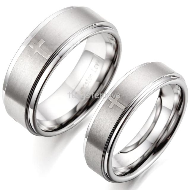 Hot Laser Cross Ridged Edges Comfort Fit Silver Tungsten Carbide Wedding Rings For Women Men Couple Jewelry -1 Piece