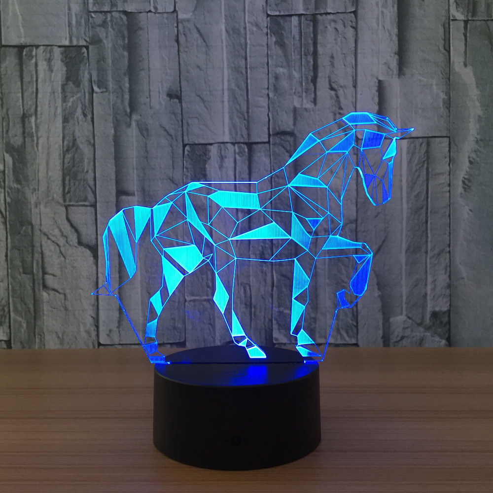 Acrylic 3D Stereo Vision Lamp Horse Interior Decorative Lamp 7 Color Change Remote Touch Switch Bedroom