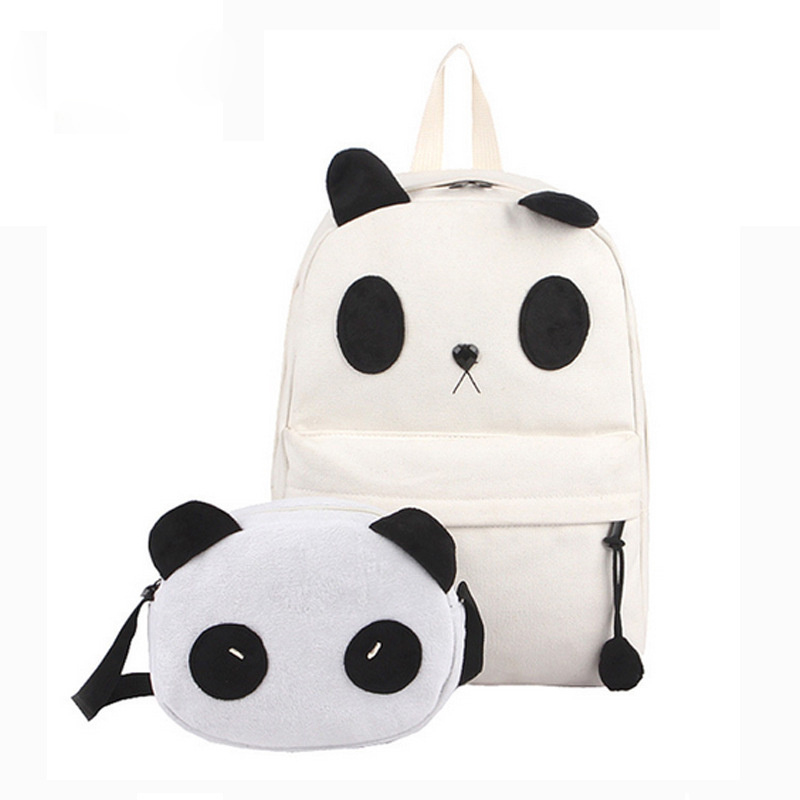 ФОТО Fashion Panda Pattern Schoolbag Backpacks Casual Canvas Female Bag Traveling Pratical Crossbody Messenger, 2 Pieces/ Set