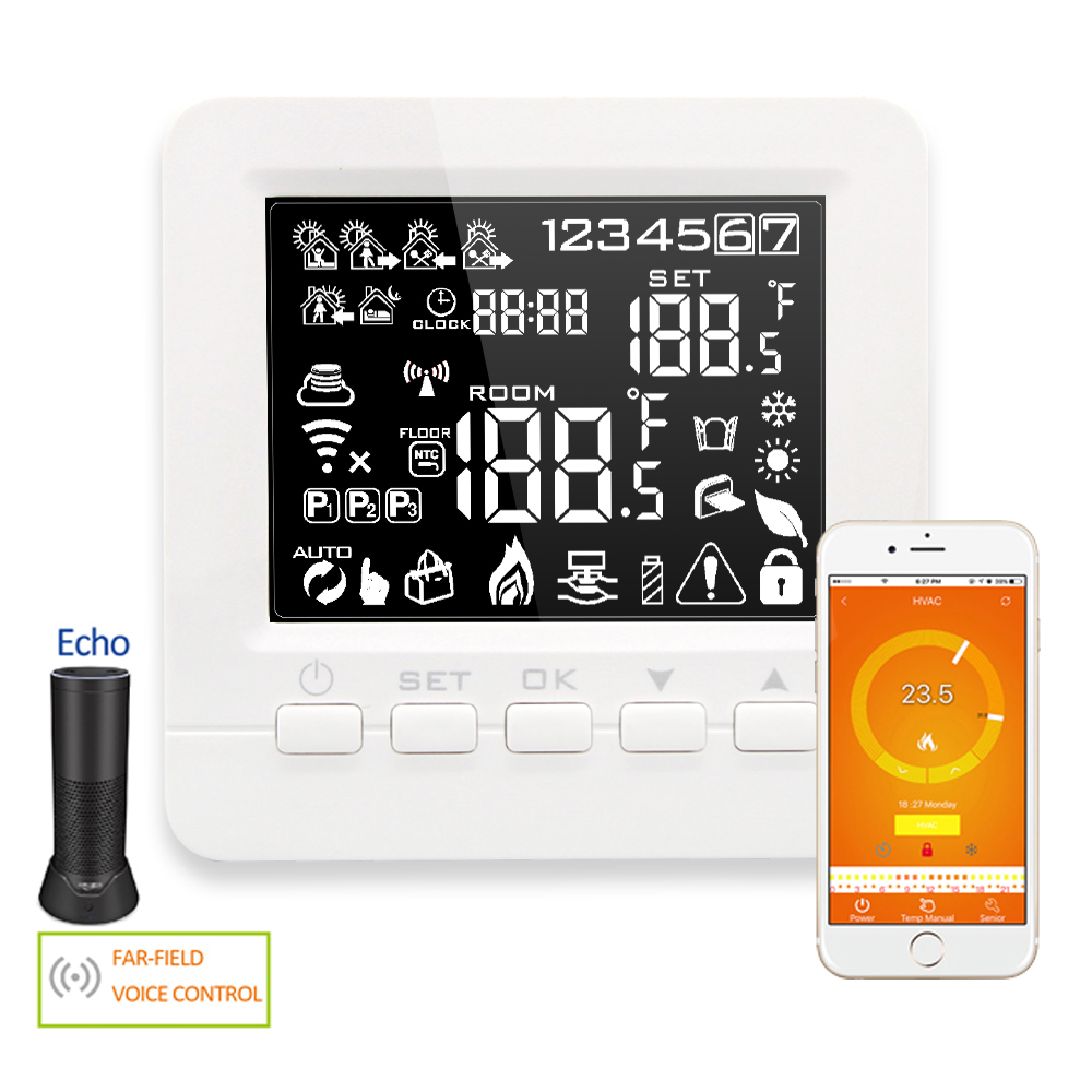 Alexa Programmable Smart WiFi Thermostat Electric Floor Heating Temperature Controller for Warm Floor Heating Units 16A valve radiator linkage controller weekly programmable room thermostat wifi app for gas boiler underfloor heating