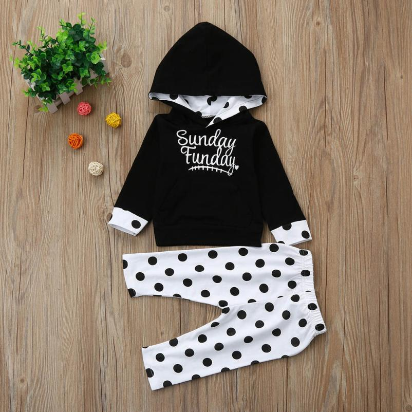 6M-4T childrens clothes Set for Toddle babay girls fashion Leisure Dot Hoodie Tops Hoodies T-shirts+Pants European Style