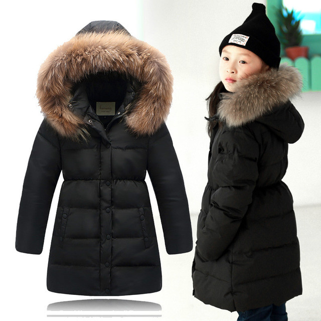a2ff76b4e8bf 2015 New Girls Winter Coat With Big Fur Collar Children s Thick Long Warm  Down Coat And Parka