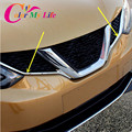 ABS Cromo Styling Car Etiqueta Engomada Parrilla Delantera Parrilla Delantera Ajuste de La Cubierta moldeo Para Nissan Qashqai Nueva J11 2014 2015 2016 Refit Coche