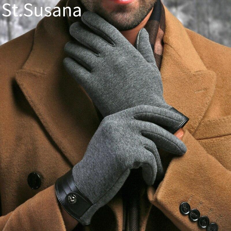 2018 hiver printemps mode tissu gros stretch coton hommes poignet en peluche confortable hommes écran tactile gants mitaines