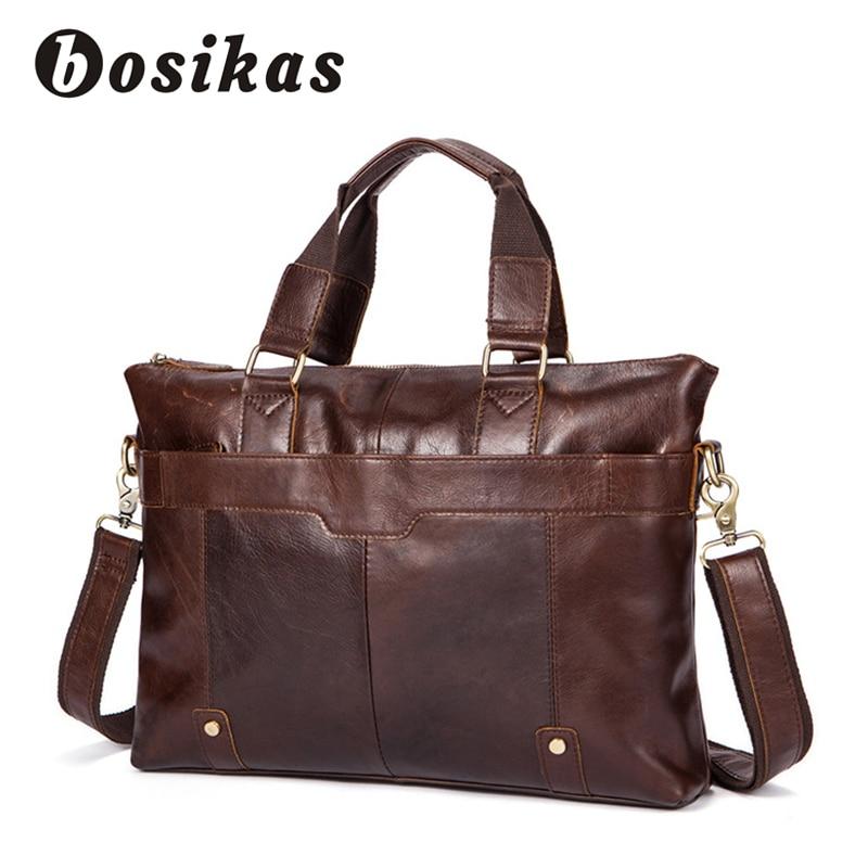 купить BOSIKAS Men Handbag Genuine Leather Men Bags Business Male Messenger Bag Men's Solid Briefcase Man Casual Shoulder Crossbody Bag недорого
