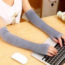 Зима-осень, женские и мужские вязаные длинные перчатки без пальцев, мягкие теплые рукавицы