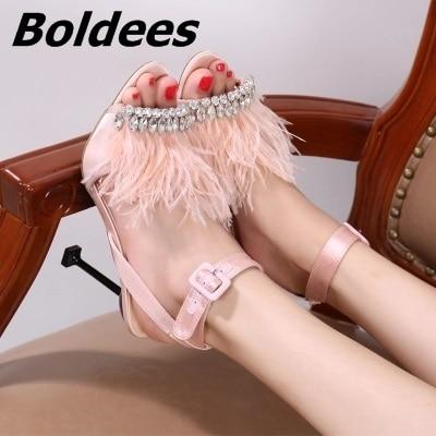 Мода дизайнер одна линия пряжка Стиль со стразами босоножки на высоком каблуке женщина Мех животных на шпильке Высокие каблуки кристаллами...
