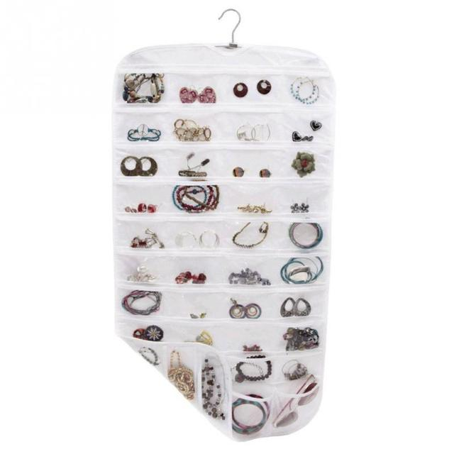 80 Pocket Jewelry Hanging Storage Organizer Holder Earring Bag Pouch