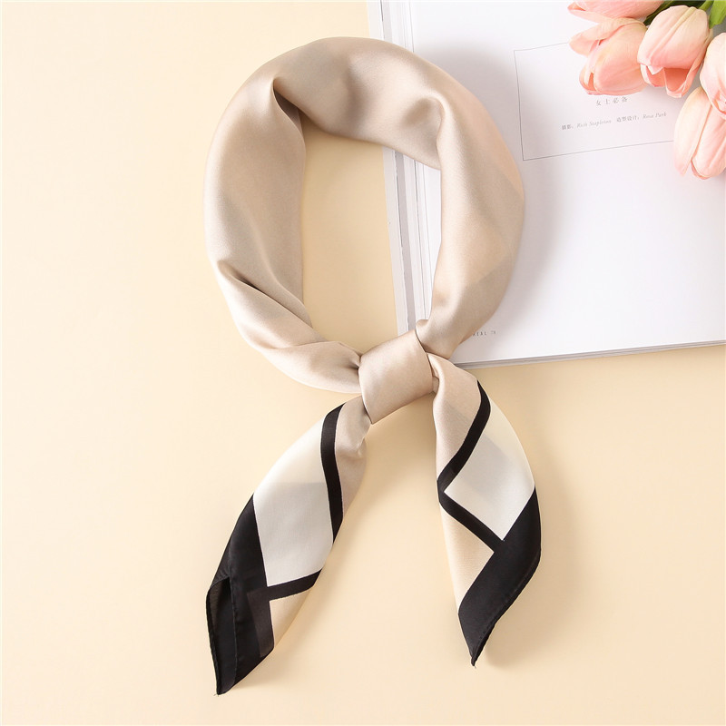 2018 New Spring Summer Women Silk Scarf Square Shawl And Wrap Lady Hair Neck Scarves Plaid Soft Office Bandana Foulard