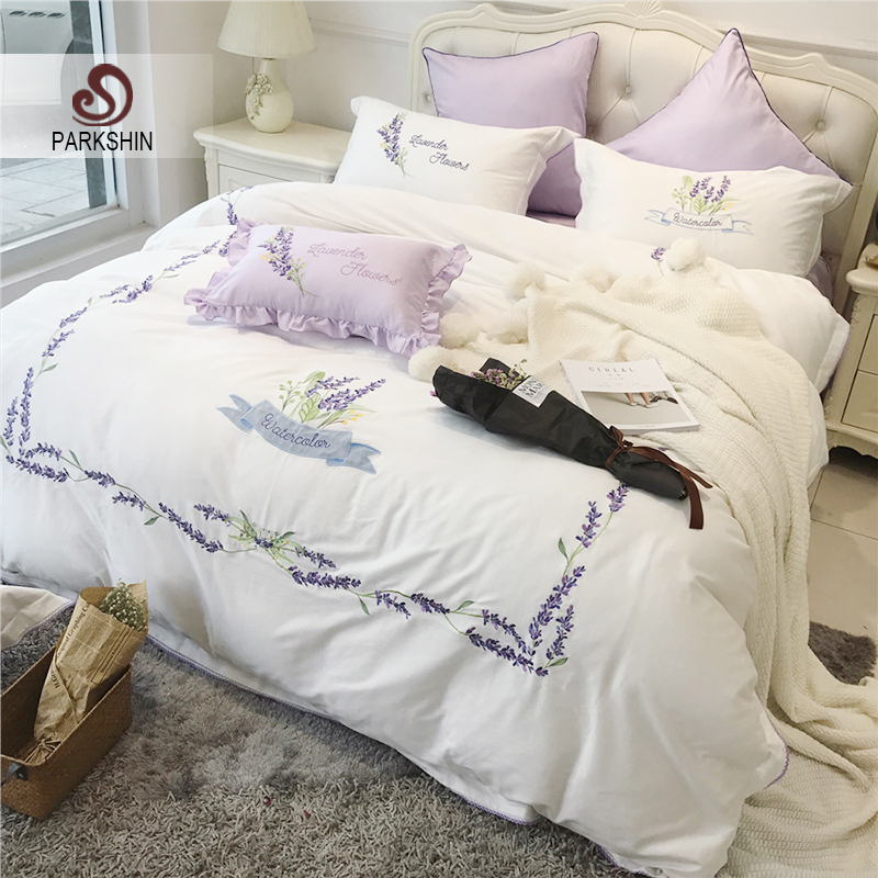 ParkShin Bedding Set Lavender Satin Sheets Embroidery Duvet Cover Bedspread Luxury Linens Cotton Double Queen King Bedclothes