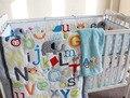 Appliqued berço berço cama definido para menina consolador / Quilt lençol Bumpers Skirt