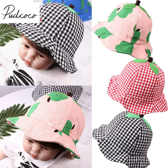 ca3640f6 2019 Children Summer Accessories Baby Wide Brim Sun Hat Cotton Kids Bucket  Sun Protect Beach Girls Strawberry Travel Outdoor Cap