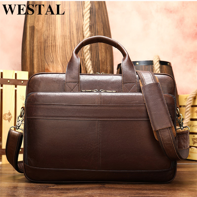 WESTAL Business Men Briefcase Laptop Bag for 15inch Men's Bags Genuine Leather Messenger Bag Men Leather Office/Computer Bags