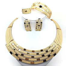 F&Y Hot sale Dubai Fashion Gold Jewelry Sets for Women Necklace Earrings Ring Charm Bridal Gift Wedding Party