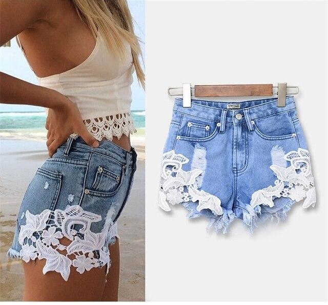 economico per lo sconto 7d1e2 98ffc US $13.9 |2016 di Modo scava fuori del modello di fiore rappezzatura del  merletto del denim pantaloncini donna jeans pantaloni di stile di estate ...