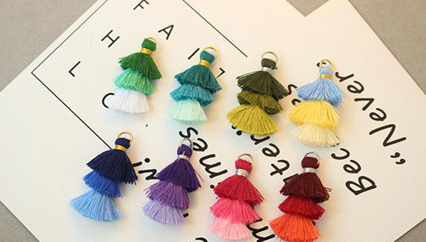 (10pcs/lot) 30mm Length Cotton Line Mini Cake Tassel For Keychain Cellphone Straps Purses Backpacks Earring Jewelry Charms