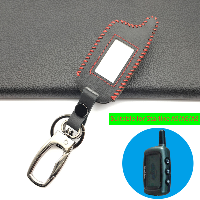 <font><b>A9</b></font> Fashion Style Leather Key Case For Russian Two Way Car Alarm System <font><b>Twage</b></font> <font><b>Starline</b></font> <font><b>A9</b></font> A8 A6 A4 LCD Remote Key Fob Cover image