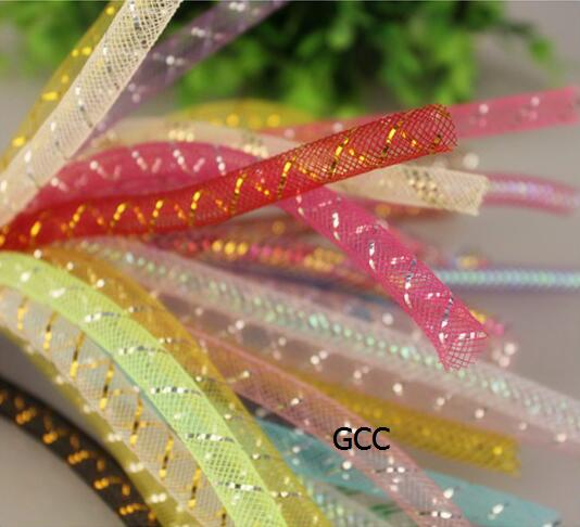 10 yards 3//8 size Tubular Crin Cyberlox stretchy ribbon 11 colors U choose