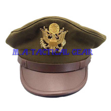 WWII WW2 US AirR Force AAF Officer Cap With Hat GOLD Color EAGLE Badge