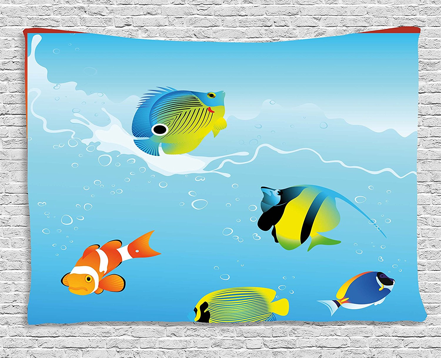 Ocean tapestry nautical navy deep sealife image with exotic tropical ocean tapestry nautical navy deep sealife image with exotic tropical exotic little fish wall hanging for bedroom living room in tapestry from home garden publicscrutiny Image collections