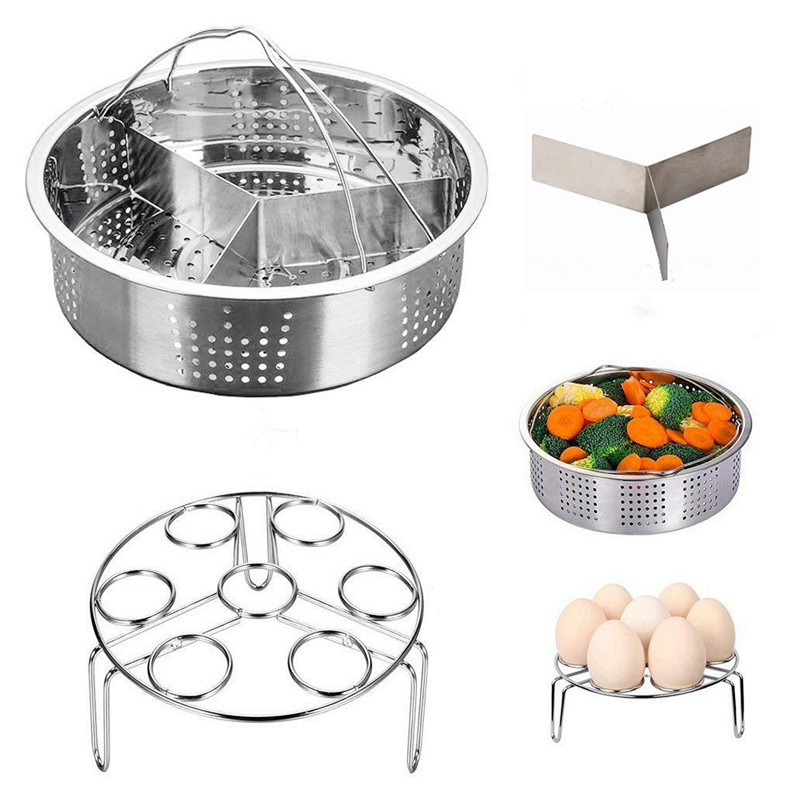 Kitchen Steamer Basket Stainless Steel Egg Steamer Rack Instant Pot Pressure Cooker Steaming Shelf Cookware Food Strainer Net
