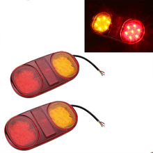 1Pair LED Tail lights Red Yellow Stop Turn Signal Lamp for 12V 24V Truck Trailer Lorry