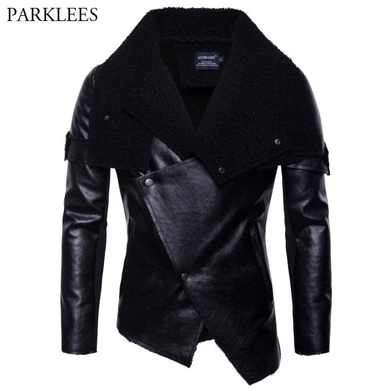 Nouveau irrégulière ourlet velours cuir veste hommes 2018 automne nouveau mâle Moto Biker Faux cuir veste manteau Punk Style Jaqueta De Couro