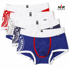 31df60abe99 Pink Heroes 4pcs lot Men Boxers Underwear Navy Stripe Cotton Print Mens  Boxer Underwear Fashion