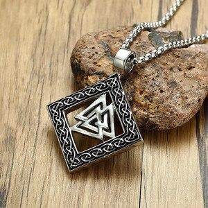 Ожерелье с подвеской в виде узелка валкнута Викинга, скандинавский, норвежский, из нержавеющей стали, символ Одина, мужское украшение 24 дюйм...