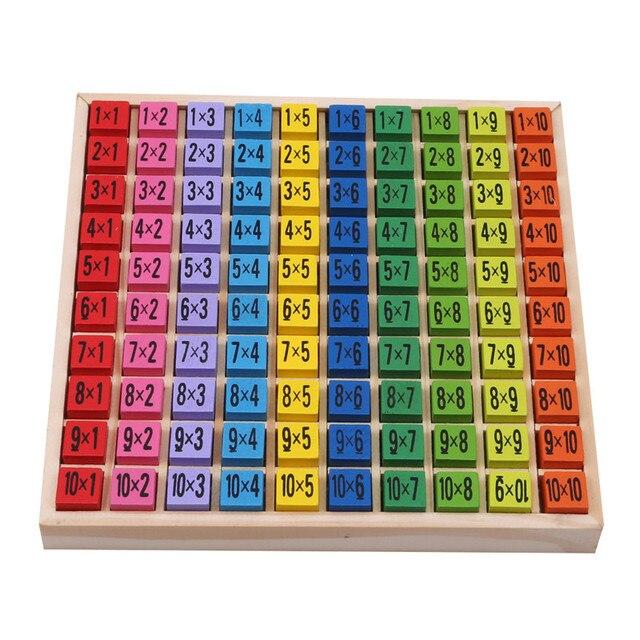 Juguetes de madera para bebés 99 TABLA DE MULTIPLICACIÓN juguete de matemáticas 10*10 bloques de figuras para bebé aprender regalos educativos Montessori