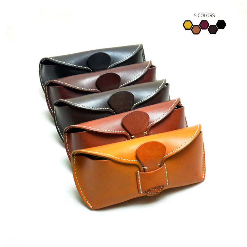 ALAVCHNV Leather Handmade Glasses Box Japanese Retro High grade Glasses Leather Case Vegetable Cream Creams BR9091A