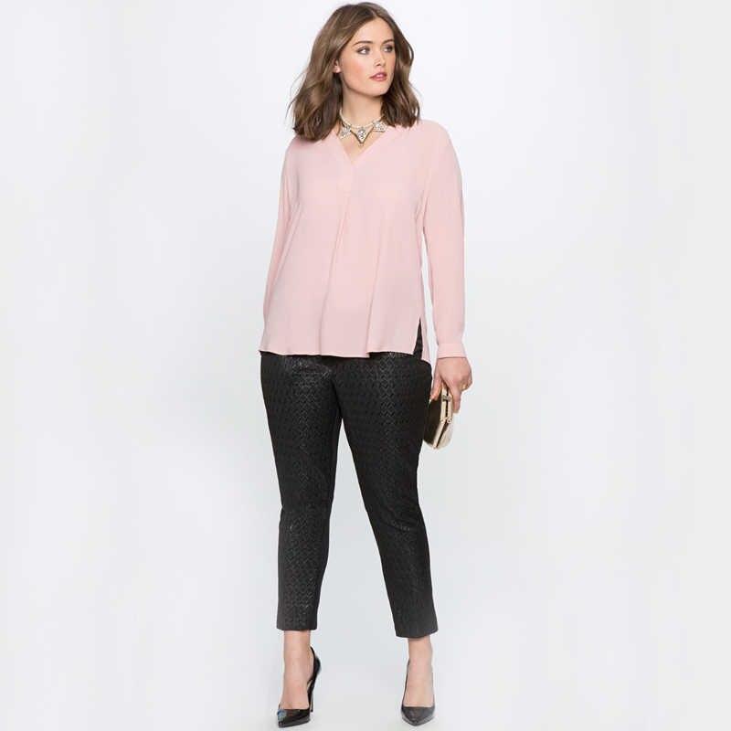 16b84e53292 ... 2018 летние топы женские блузки с длинным рукавом черная Шифоновая  Блузка Плюс Размер Женская рубашка 6XL ...