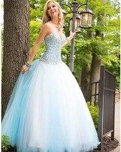 Sky Blue Ballkleid Prom Kleider Lang mit Perlen Kristall Schatz Gericht Zug Tüll Abendgesellschaft Abendkleider Vestido De Festa