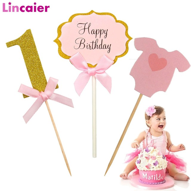 Lincaier 1st Happy Birthday Cake Cupcake Toppers Baby My First Party Decorations Kids Boy Girl 1 Year Princess Supplies One 2nd