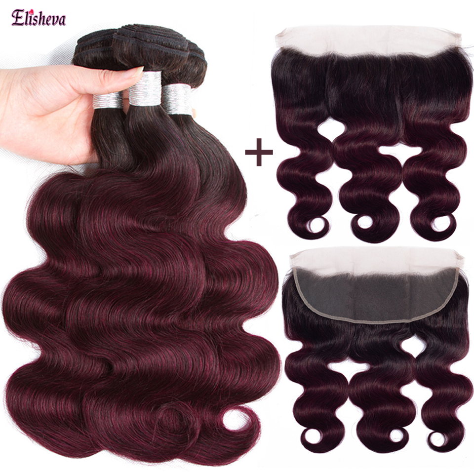 Elisheva Ombre Bundles With Frontal 1b/99J Dyed Peruvian Body Wave Remy Human Hair Lace Frontal Closure With Bundles Pre Plucked-in 3/4 Bundles with Closure from Hair Extensions & Wigs    1