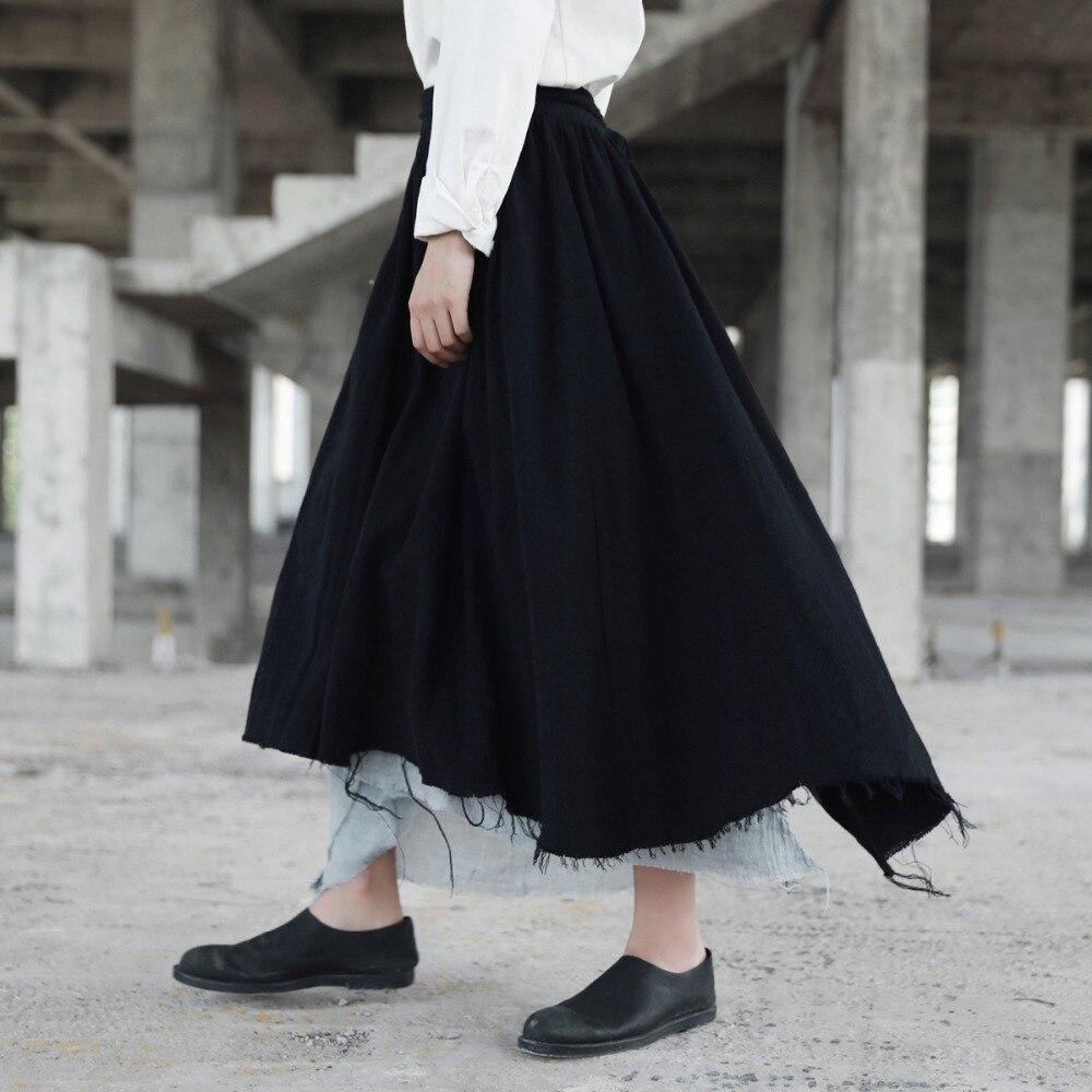 Patchwork Asymétrique Lin Lâches Coton Cakucool Vintage Femmes Nouveauté Plissée Noir Déchiré Jupes Nouveau Jupe Design Longue wZIIqz7x