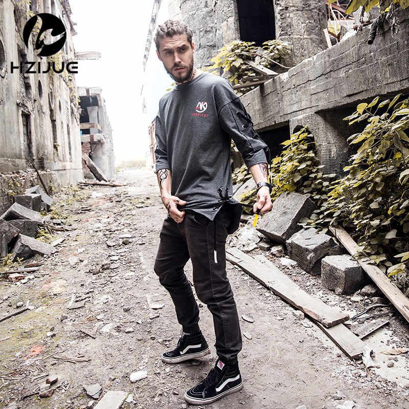 HZIJUE/Новое поступление, Мужская модная футболка с коротким рукавом, с завязками сбоку, свободная футболка в стиле хип-хоп для мальчиков, уличная одежда, мужская одежда