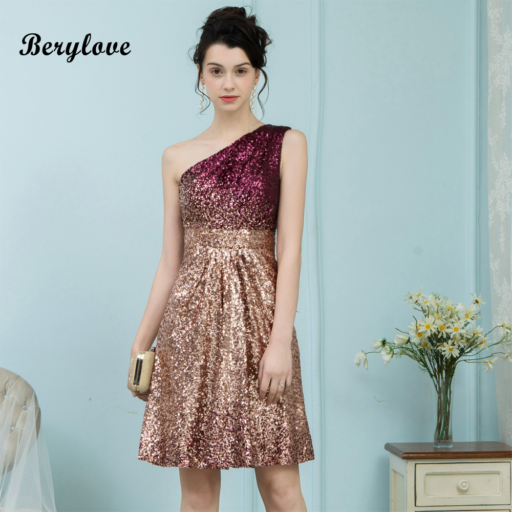 BeryLove Sparkly One Shoulder Short Homecoming   Dresses   Mini Sequin   Cocktail     Dresses   2018   Cocktail   Party   Dresses   Gowns For Prom