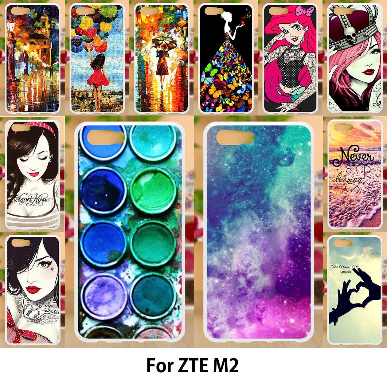 Akabeila для ZTE Нубия M2 силиконовый чехол Мягкий Вернуться ТПУ охватывает рисунком случаях ZTE Нубия M2 Cover звездное небо красота девочек