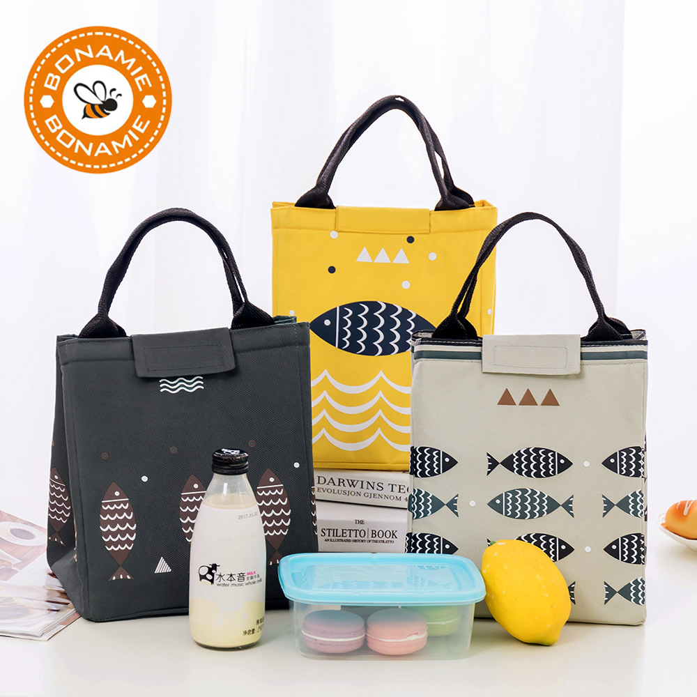 BONAMIE Hot Sales! Waterproof Oxford Tote Lunch Bag Large Capacity Thermal Food Picnic Lunch Bags For Women Kid Men Fish Pattern