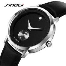 SINOBI New Fashion Men's Watches Pure Leather Watcheband Waterproof 2 Colors Steel Surface Men's Quartz relogio masculino 2017