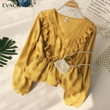 Ruffle Women Blouse Chiffon Lace V Neck Long Sleeve Patchwork Boho Korean Vintage Tunic Yellow White Summer Top Women Shirt ruffle detail solid tunic top