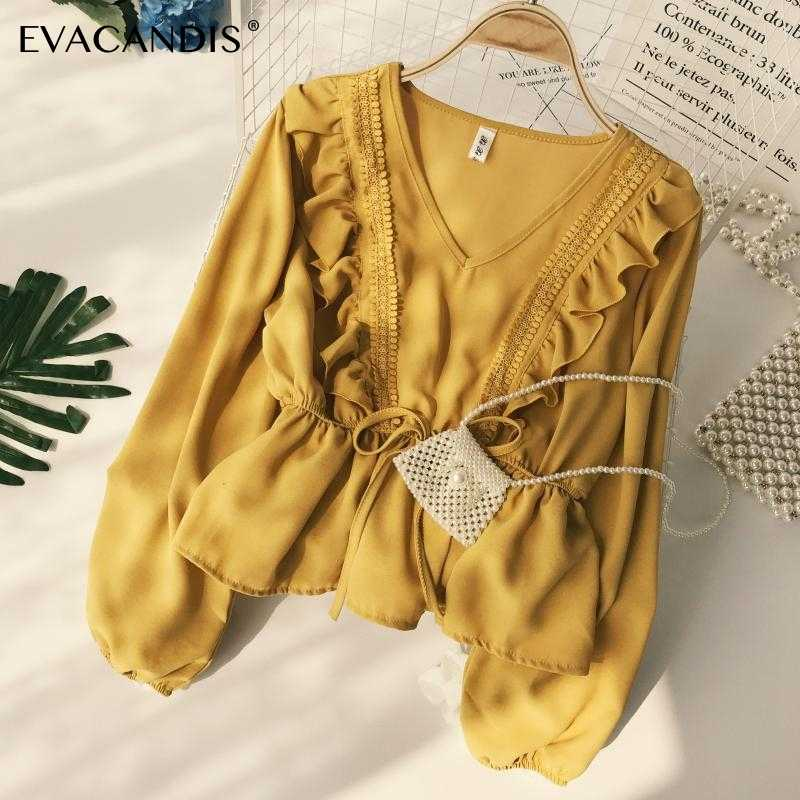 Ruffle Women Blouse Chiffon Lace V Neck Long Sleeve Patchwork Boho Korean Vintage Tunic Yellow White Summer Top Women Shirt