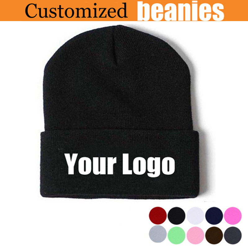 d1bd5bafd0a Customized Beanies for Women Men Quality Winter Cap Personalized Skullies  Embroidery Long Cuff Ski Caps 100PCS LOT Free Express