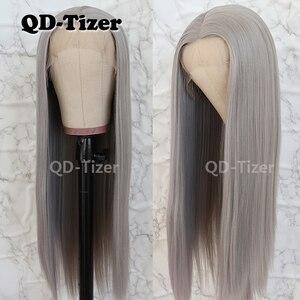 Image 1 - QD Tizer Silky Straight Haarkant Grijze Kleur Lijmloze Hittebestendige Synthetische Lace Front Pruik Voor Vrouwen